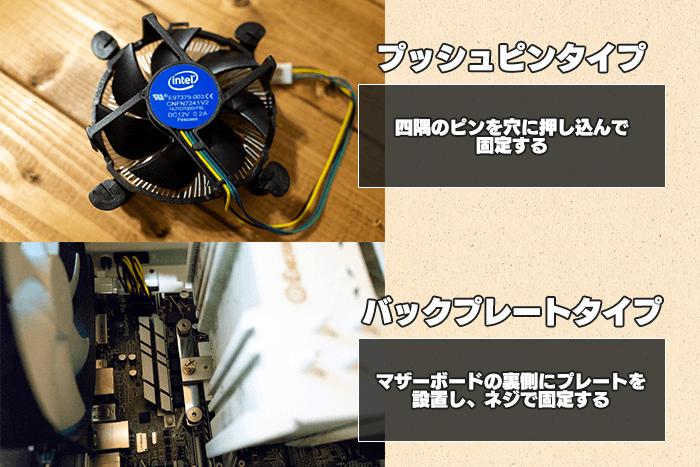 cpuクーラーには、プッシュピンタイプとバックプレートタイプの2種類がある