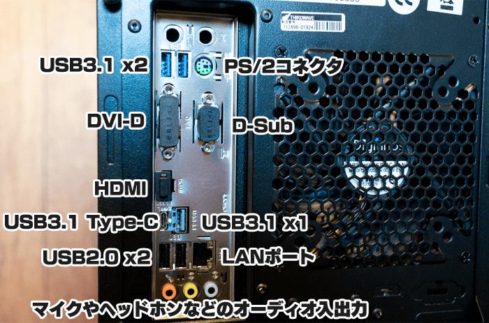 ガレリアZZ 9900Kのバックパネル
